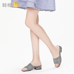 达芙妮集团鞋柜鞋柜18夏杜拉拉方头简约纯色镂空方跟后空拖