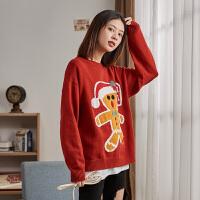【限时抢购】唐狮冬新款卡通圣诞过年毛衣女套头慵懒风红色韩版针织衫外穿