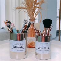 多功能不锈钢笔筒学生办公室桌面收纳盒ins北欧风金属化妆刷桶