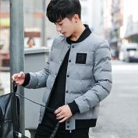 冬季男装外套加厚青年学生潮流休闲韩版棉袄修身短款男士棉衣 灰色 M