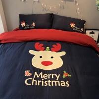 伊丝洁家纺圣诞礼物子床 拉绒毛线绣卡通可爱儿童婴儿床品全棉磨毛四件套
