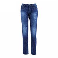 裤子牛仔裤女式弹力中腰长裤深蓝色牛仔裤小脚 深蓝色 180/XXL