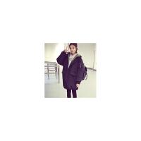 韩观 秋冬季外套女装学生韩版潮流中长款宽松显瘦bf风加厚棉袄棉衣百搭 黑色