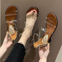 韩版透明铆钉女士凉鞋 新款百搭套趾粗跟凉鞋女 ins潮罗马鞋女街拍百搭凉鞋