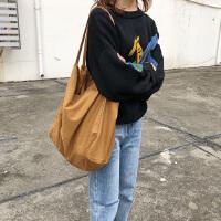 韩国超火帆布包女单肩大包文艺学生百搭手提大容量购物包