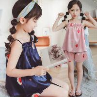 儿童睡衣薄款 女夏季女孩公主仿真两件套 夏天吊带套装
