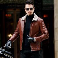 冬季新款真皮皮衣男加绒加厚中年夹克皮毛一体绵羊皮保暖外套