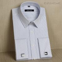 春秋季法式袖扣衬衫男士长袖 蓝白黑条纹衬衣商务正装 蓝黑细竖条纹EF06