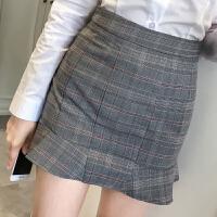 半身裙秋装新款韩版百搭女装显瘦格子荷叶边鱼尾裙包臀短裙子 灰色