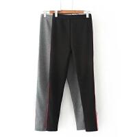 大码女装冬装新款胖MM侧边织带加绒加厚打底裤弹力修身长裤