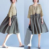 棉麻t恤女装短袖上衣宽松大码200斤胖MM显瘦文艺范短袖拼接连衣裙