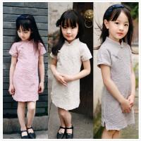 童装汉服夏款女童复古中国风连衣裙女宝宝立领盘扣纯棉蕾丝旗袍裙