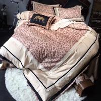 家纺80支磨毛加厚四件套全棉豹纹蕾丝花边冬季新品床上用品 豹纹