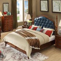 【1件3折 领券】美式乡村实木床真皮床 复古欧式做旧卧房家具