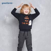 歌瑞家童装男童套头卫衣黑色2017冬装新款中大童宝宝长袖上衣乐友