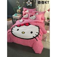 公主风卡通床上四件套女孩儿童床单三件套1.2m1.5米床笠4 粉红色 香香kt