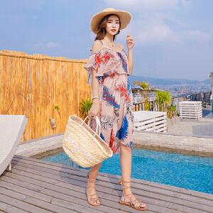 雪纺碎花连衣裙女2018夏季新款波西米亚风情吊带一字肩宽松沙滩裙