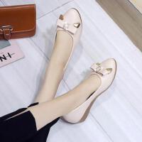 坡跟水钻仙女单鞋时尚百搭奶奶鞋子ins同款浅口适合裙子的鞋