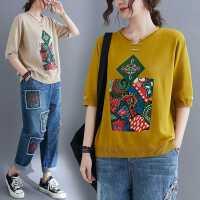小菲家~�凸琶褡屣L短袖上衣2021夏季新款�@瘦�p�g��松洋�忉��衫