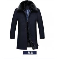 长款羊绒呢大衣爸爸加绒加厚风衣男宽松大码毛呢中长款中老年外套 藏青色羊绒呢款 XL(建议体重1斤以下穿)