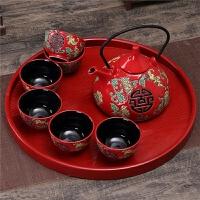 中国红色陶瓷结婚茶具套装创意婚庆用品长辈敬茶杯壶新婚礼品礼物