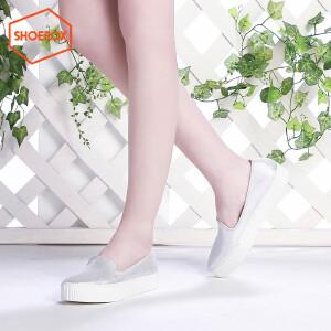 达芙妮旗下SHOEBOX/鞋柜春新款帆布鞋松糕厚底平底单鞋