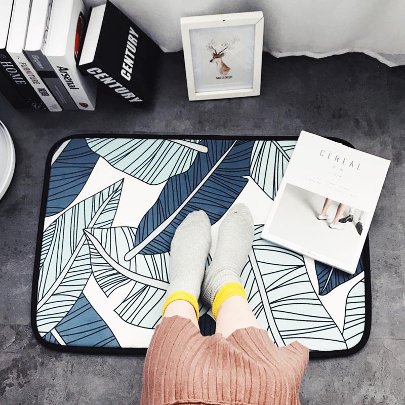 北欧风绿植肤绒地毯门前垫厨房脚垫吸水防滑地垫玄关垫子可机洗  50x70CM(无胶地垫) 发货周期:一般在付款后2-90天左右发货,具体发货时间请以与客服协商的时间为准