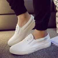 欧美时尚男士帆布鞋白色休闲鞋男鞋纯色一脚蹬懒人鞋黑色鞋子 白色 152