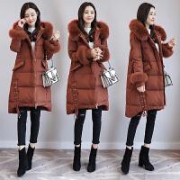 大毛领棉衣女中长款冬季新款韩版宽松加厚羽绒显瘦棉袄潮