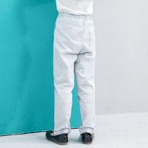 【尾品汇 5折直降】amii童装2017夏季新款女童休闲长裤皮带装饰翻卷裤脚薄款儿童裤子