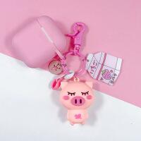 ins新款简约创意DI手工粉色小猪苹果耳机保护套挂件情侣配饰批发 Y113 DIY粉色猪-饿+粉耳机套 opp袋包装