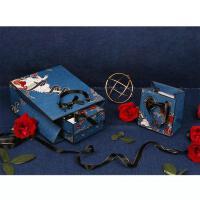 (空盒空袋)情人礼品盒独角兽蓝色精致玫瑰男女朋友香水口红衣服手提包装袋子SN9029 +贺卡+1米灯串