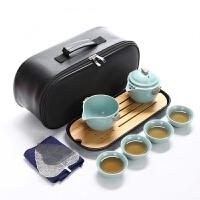汝窑快客杯一壶二四杯便携旅行陶瓷功夫茶具套装家用办公茶壶茶杯