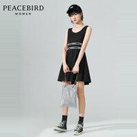 太平鸟时尚连衣裙女2020春季新款高腰圆领黑色无袖短裙A4FA92374