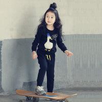 韩版童装春秋冬款女童卡通套装纯棉儿童加绒卫衣套运动套