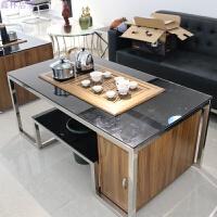 茶台办公茶几泡茶桌锈钢简约钢化玻璃功夫办公室沙发中间小一体 1300W*700D*540H 其他尺寸