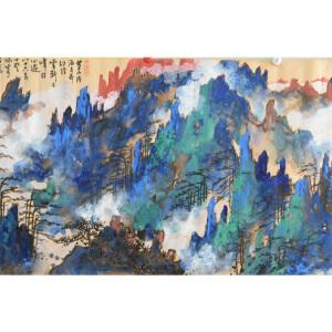 刘海粟  黄山松云  78*198