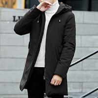 男士羽绒服中长款韩版新款冬季加厚保暖连帽外套青年学生男装 黑色 M