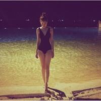 2018新款黑色网红同款深V领性感漏背三角连体遮肚显瘦比基尼温泉游泳衣女 黑色