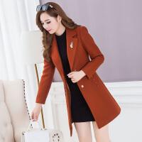 秋冬装新款韩版大码修身中长款女士毛呢外套中年收腰呢子大衣