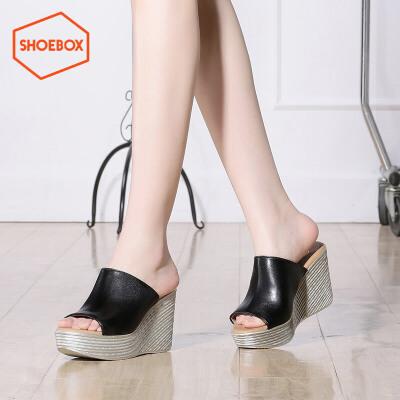 达芙妮旗下shoebox鞋柜夏季新款坡跟厚底凉鞋时尚超高跟套脚女鞋