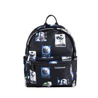 新品 潮流街头双肩包宇航员外星人印花小背包休闲百搭包包