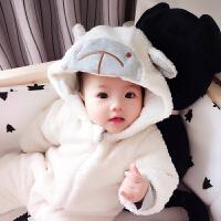 男婴儿连体衣服加厚新生儿宝宝外出冬季新年冬装套装棉衣0个月