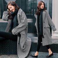 实拍 复古随性 欧美范时尚格纹宽松羊毛呢大衣女呢料外套