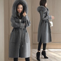 毛呢外套女冬季新款女装连帽中长款抽绳显瘦韩版纯色呢子大衣