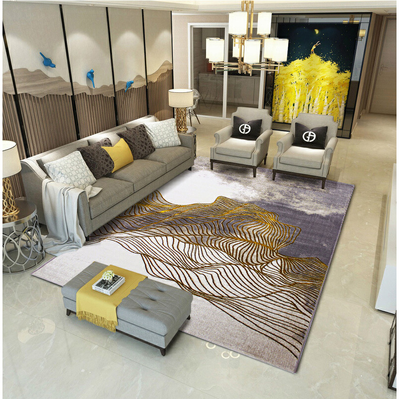 华雪北极光现代简约客厅地毯卧室满铺北欧床边毯茶几书房家用加丝 北极光 金色 4米×3米搭配 L型 U型沙发