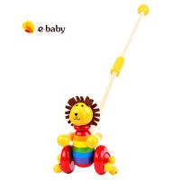儿童木质学步手推车玩具宝宝推推乐玩具1-3周岁加长杆新品