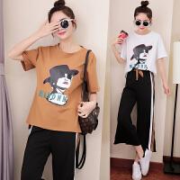 夏季新款韩版女休闲学生时尚短袖T恤+阔腿裤两件套装潮
