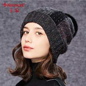 翻边针织帽女士冬季韩版毛线帽时尚拼接拼色帽卷边帽子韩国堆堆帽9009