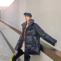 七格格亮面羽绒服女中长款2019新款冬季时尚宽松工装派克服外套潮
